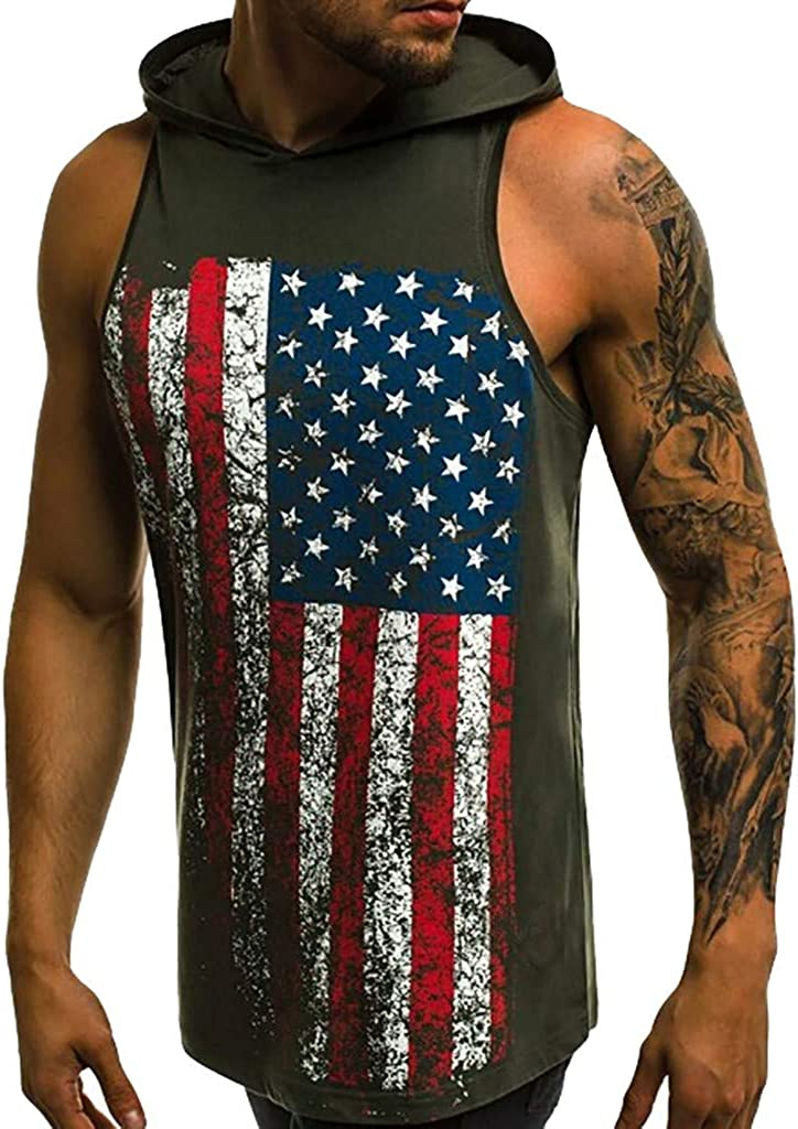 Tank Tops for Men F/_Gotal Mens Fashion Printed Summer Sleeveless Muscle Hoodies Sports Vest Racerback Blouse Tops