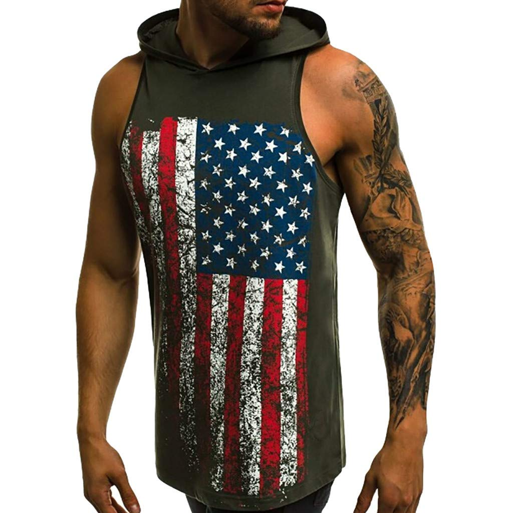 JIUDASG Sports Vest Men Hooded Printed Pure Cotton Pure Large Open-Forked Male