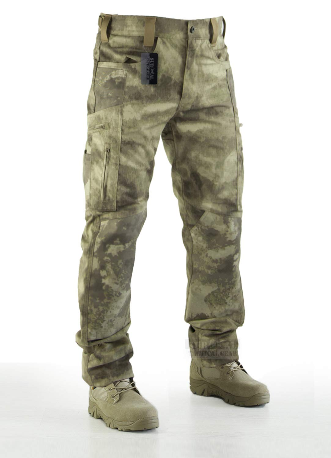 Survival Tactical Gear Men's Ripstop Pants Outdoor Military Camo Cargo Trousers for Camping Hiking