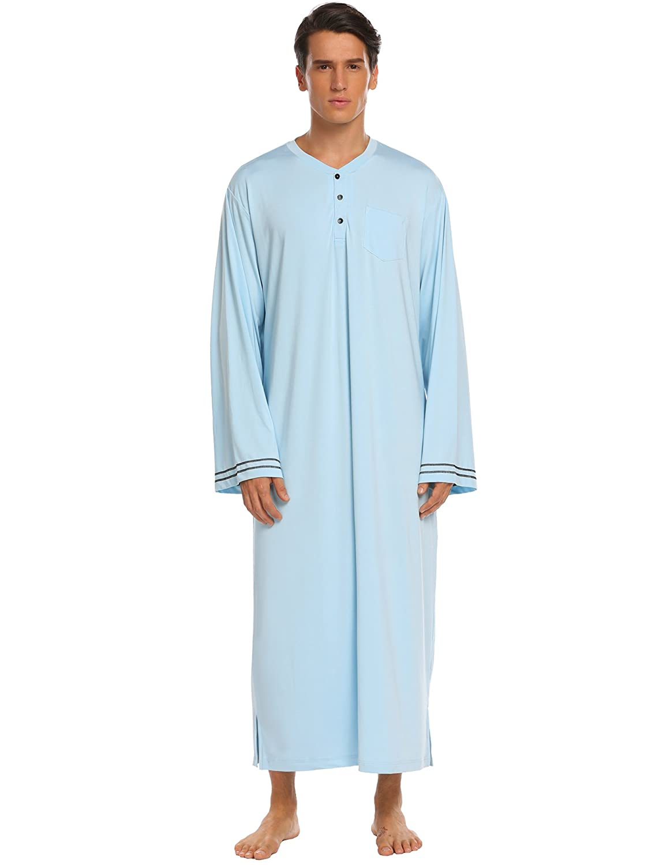 Ekouaer Mens Cotton Nightgowns Lounge Sleepwear Long Nightshirt M-3XL **EKK007018