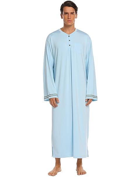 0af4ff782060 Ekouaer Mens Cotton Nightgowns Lounge Sleepwear Long Nightshirt M-3XL  (Medium