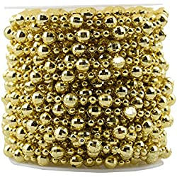 Gold Beaded Garland,BoJia Pearl Bead Roll String 50ft ABS Crystal Strand for Christmas, Valentine, Exhibition, Wedding, Clothing, Costume, DIY Decoration (Gold)