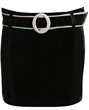 037c57f29 PILOT PVC Belted Mini Skirt in Black at Amazon Women's Clothing store: