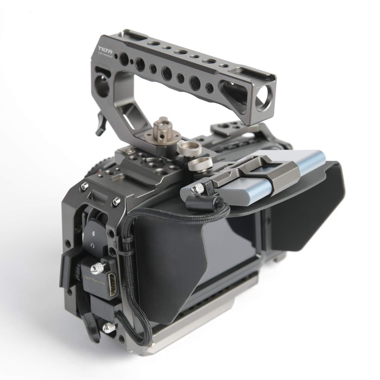 (Tilta Gray) TILTA TA-T01-B-G-2 BMPCC 4K / BMPCC 6K Cage Blackmagic Pocket Cinema Camera 4K / 6K Cage Rig + Half Sunhood ( Basic 2 Kit )