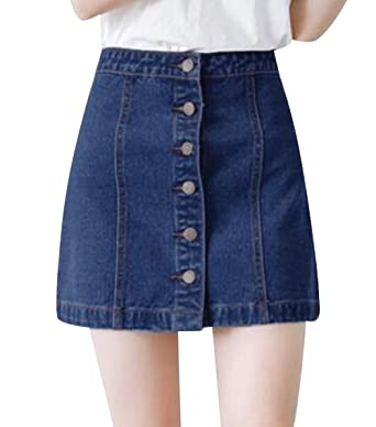 b3ad73745e Summer Denim Short Skirt Jean Button-Front Jean Skirt Mini Skirt at Amazon  Women's Clothing store: