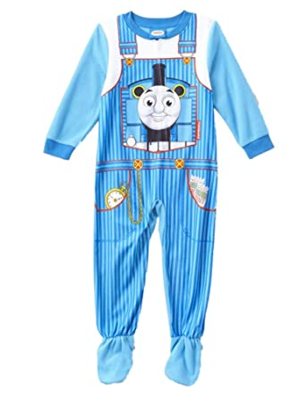2012f3e68 Amazon.com  Toddler Boys Stripe Blue Fleece Thomas The Train Footie ...