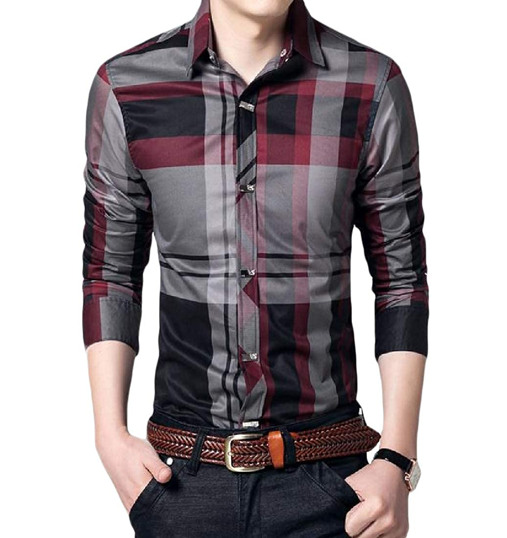 YUNY Men Long Sleeve Plaid 100/% Cotton Casual Business Western Shirt Wine Red XL