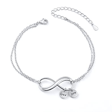 DAOCHONG Inspirational Bangle Sterling Silver Infinity Love Symbol Charm Adjustable Bracelet Women Gift Ideas o8vnQXmYF