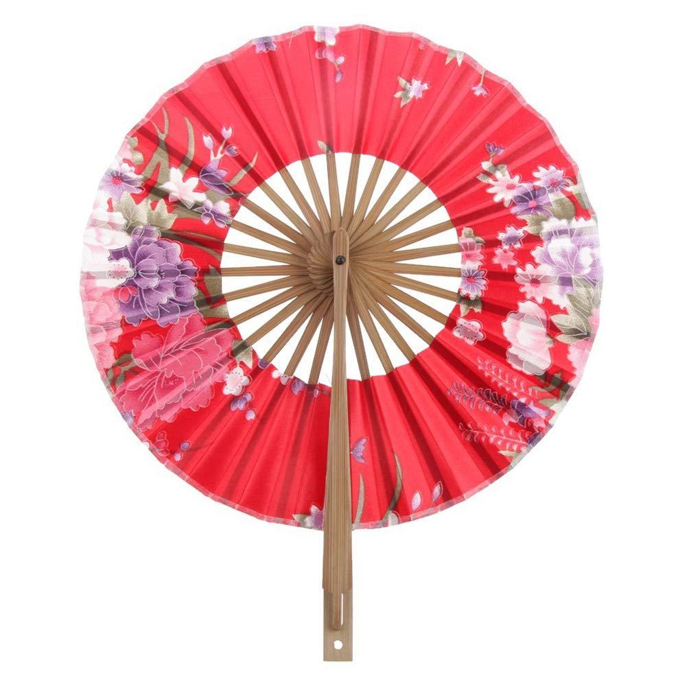 Beito Floral Ventaglio Pieghevole a Mano di Seta di bambù Giapponese Cherry Windmill Fan Vintage Rotonda Danza Ventilatore per Il Regalo bomboniere, Home Decor Fan (Red)