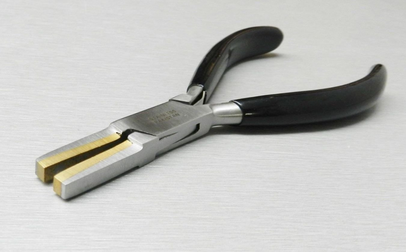 BRASS JAW PLIERS FLAT NOSE PLIER BRASS LINED SOFT JAWS FORMING HOLDING BENDING (E4)