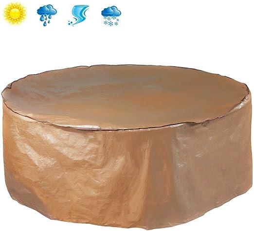 Abba Patio Funda Protectora Impermeable para Mesa Redonda y Conjunto de Sillas Cubierta Mueble de Jardín Diámetro 180 cm, Color Marrón: Amazon.es: Jardín