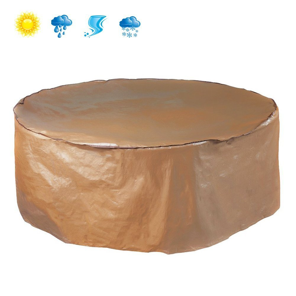 Abba Patio® Outdoor/Porch Round Table and Chair Set Cover, Water proof, All Weather Protection, Brown, 70'' Dia.