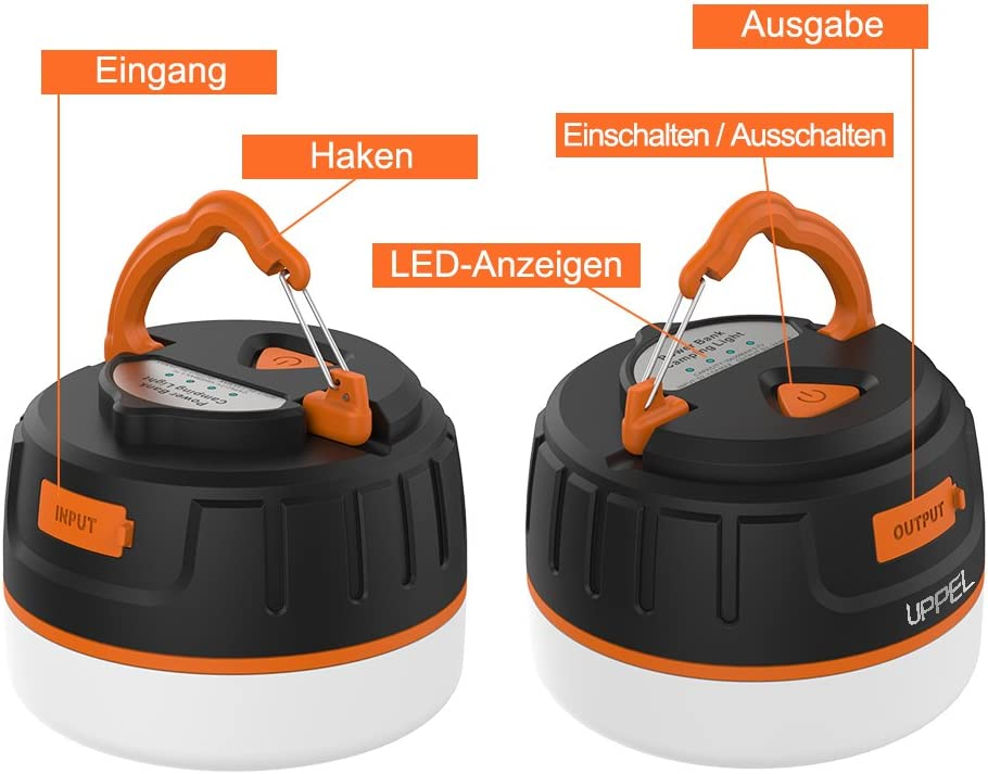 IP65 impr/ägniern Camping Lampen LED,GLISTENY Kampierende Beleu LED-Laterne mit 1800mAh Energien-Bank magnetisches Portable mit 3 Modi f/ür kampierendes im wiederaufladbare eingebaute Batterie 5V USB