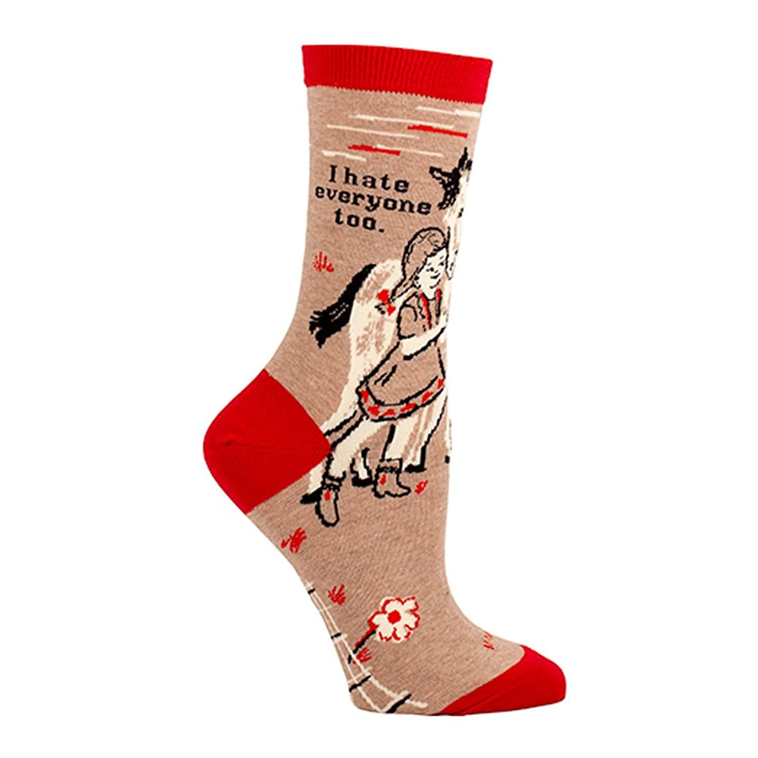 Amazon.com: Blue Q Hate Everyone Too Tan and Red Socks One Size,Womens Shoe  Siz 5-10: Clothing