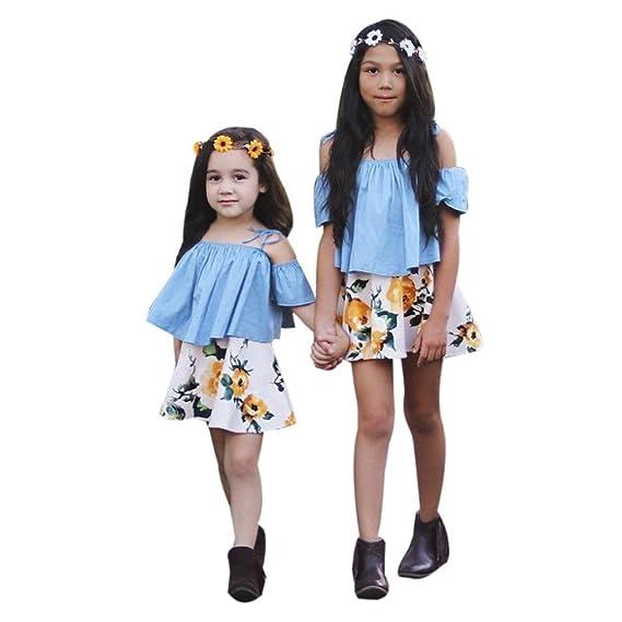 Conjuntos de ropa, Dragon868 2018 Niñas bebé niña correa de camisas de hombro y faldas florales: Amazon.es: Ropa y accesorios
