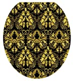Toilet Tattoos TT-1037-R Rococo Black and Gold Design Toilet Seat Applique, Round