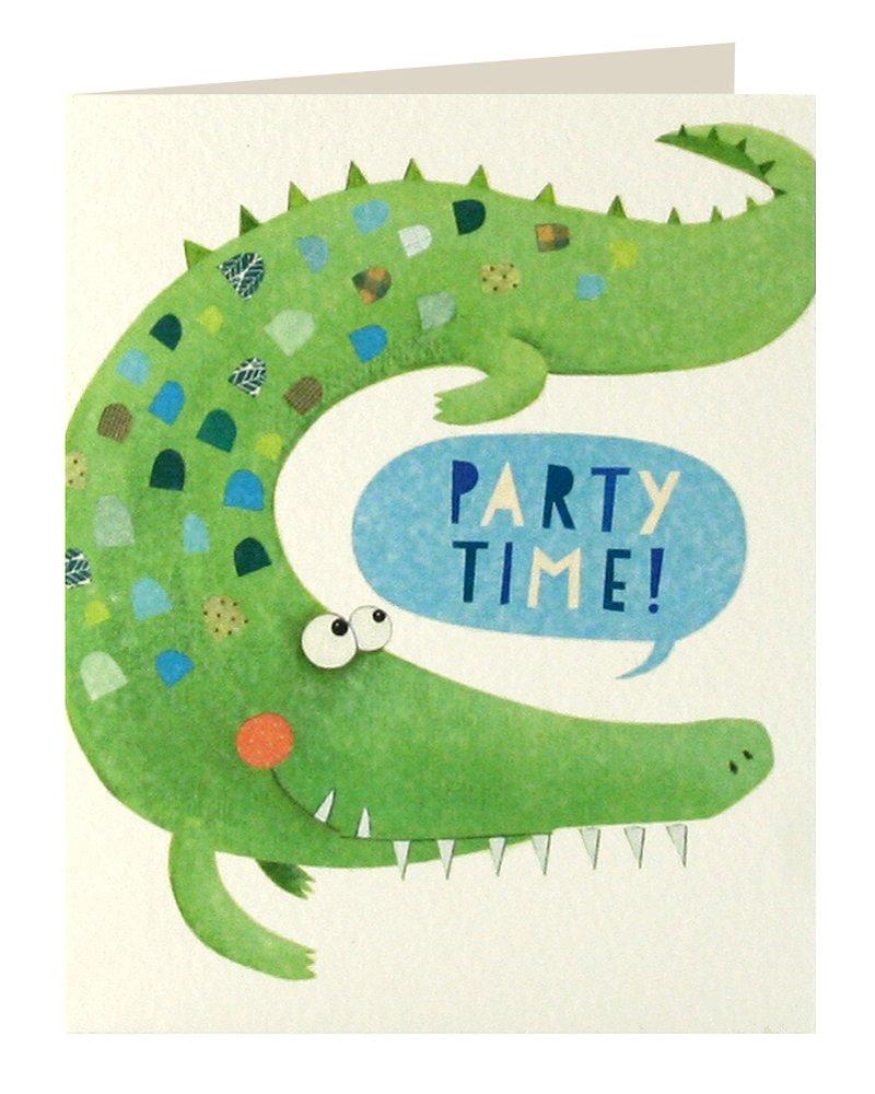 Tarjeta de invitación infantil de James Ellis Mini con el diseño de cocodrilo y texto «PARTY TIME!», paquete de 5 unidades MC2598