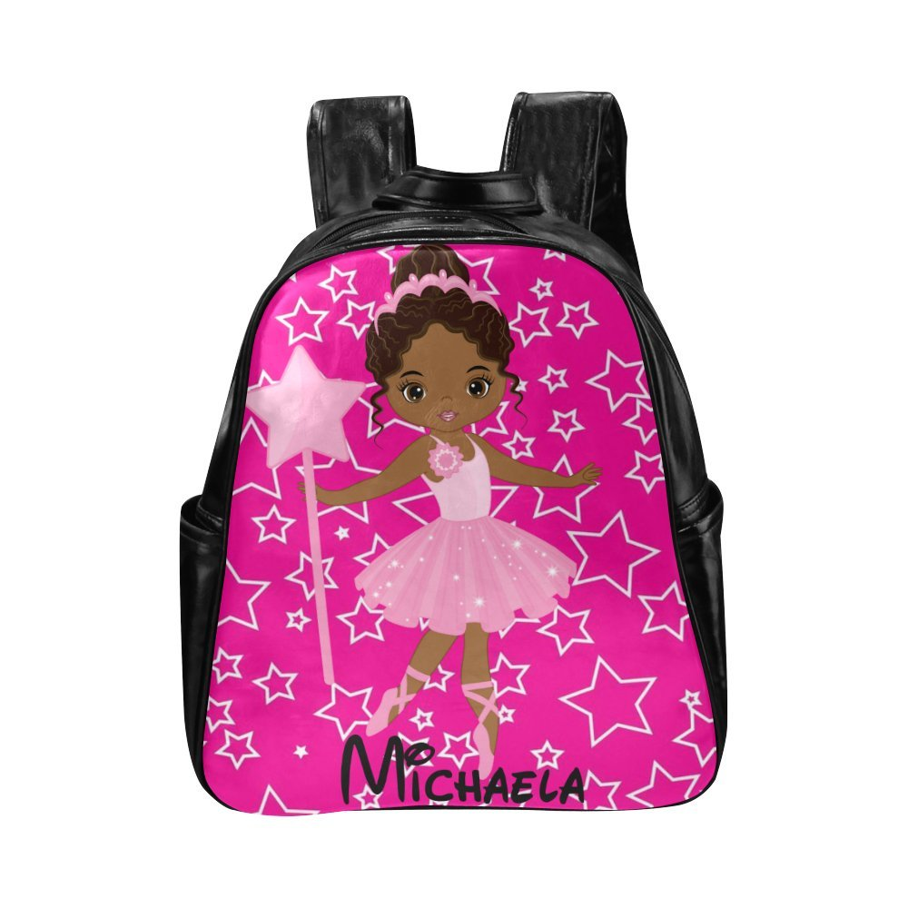 African American Kids Backpacks, Cute Girls Book bag Diaper Backpack Bag Pink