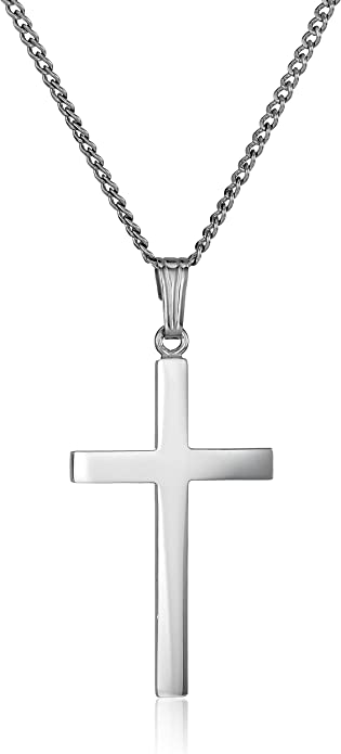 Amazon Com Sterling Silver Polished Cross Pendant Necklace 16