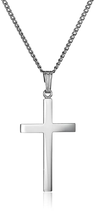 754ab8565 Amazon.com: Sterling Silver Polished Cross Pendant Necklace, 16 ...
