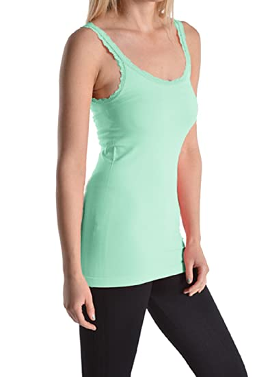 411d53726fa Womens Ladies Missy Seamless Lace Trim Cami Fashion Tank Top (Aqua) at  Amazon Women s Clothing store
