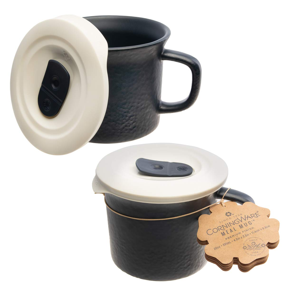 CorningWare (2 Pack 20oz Soup Mug with Lid Coffee Travel Mug Camping Accessories Kitchen Mugs Set