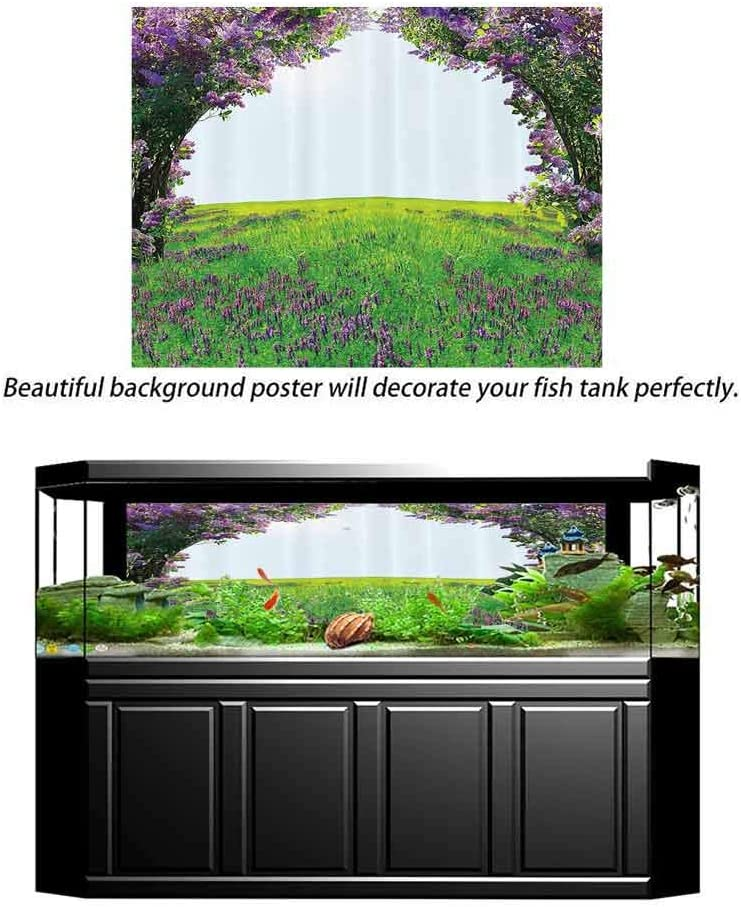 Magic Home Decor Collection Underwater Backdrop Image Decor Meadow Field with Violet Flowers Between Trees Dream Inspirational Habitat Landscape Underwater Backdrop Image Decor Lilac Green