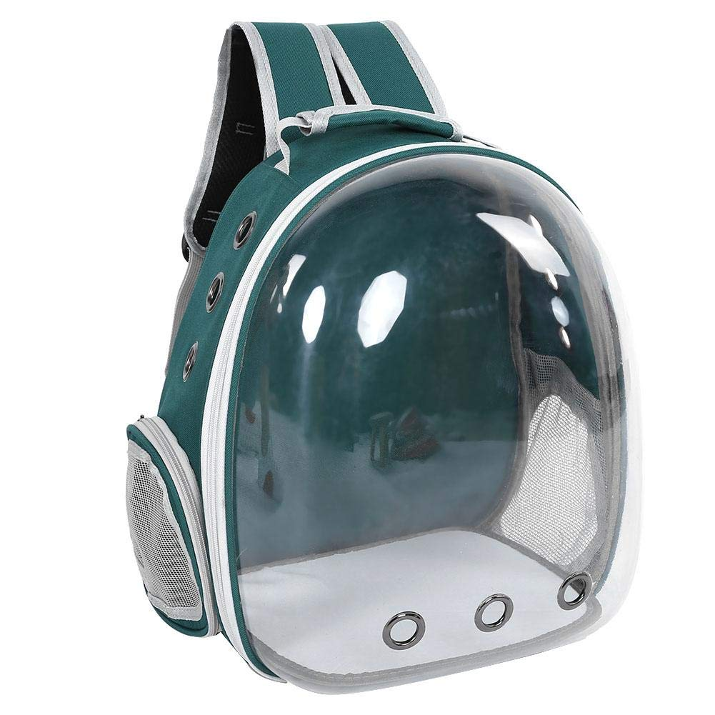 Green Pet Carrier Backpack Space Capsule Multiple Air Holes Transparent Breathable Pet Cage Waterproof Carrying Bag Rucksack for Travel Hiking Walking Outdoor Use(Green)