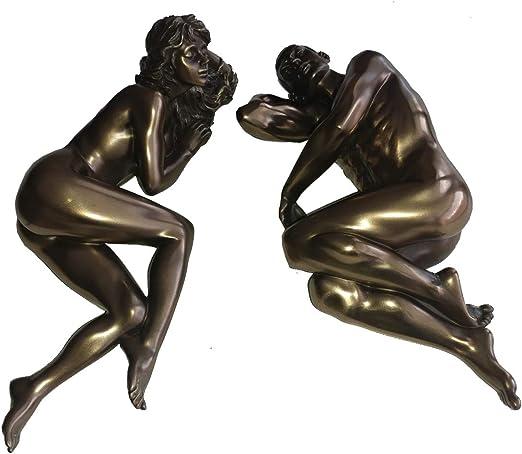 Stunning Bronze Affection Nude Loving Couple Figurine Sculpture Ornament Statue