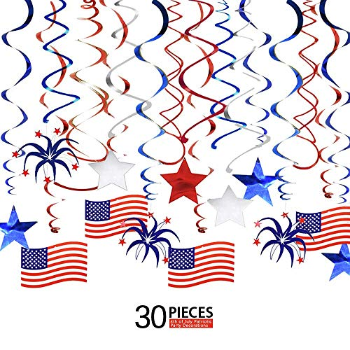 Ediff 4th of July Patriotic Party Decorations, Patriotic Swirl Streamers (30 PCS) with American Flag, Red, White & Blue Stars, Patriotic Party Supplies for Independence Day]()