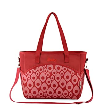 3717e14bf5e6 Amazon.com   Fumeepro Large Capacity Durable Diaper Bag - Weekender Tote  with Cute Baby Change Pad + Crossbody Strap (Red)   Baby