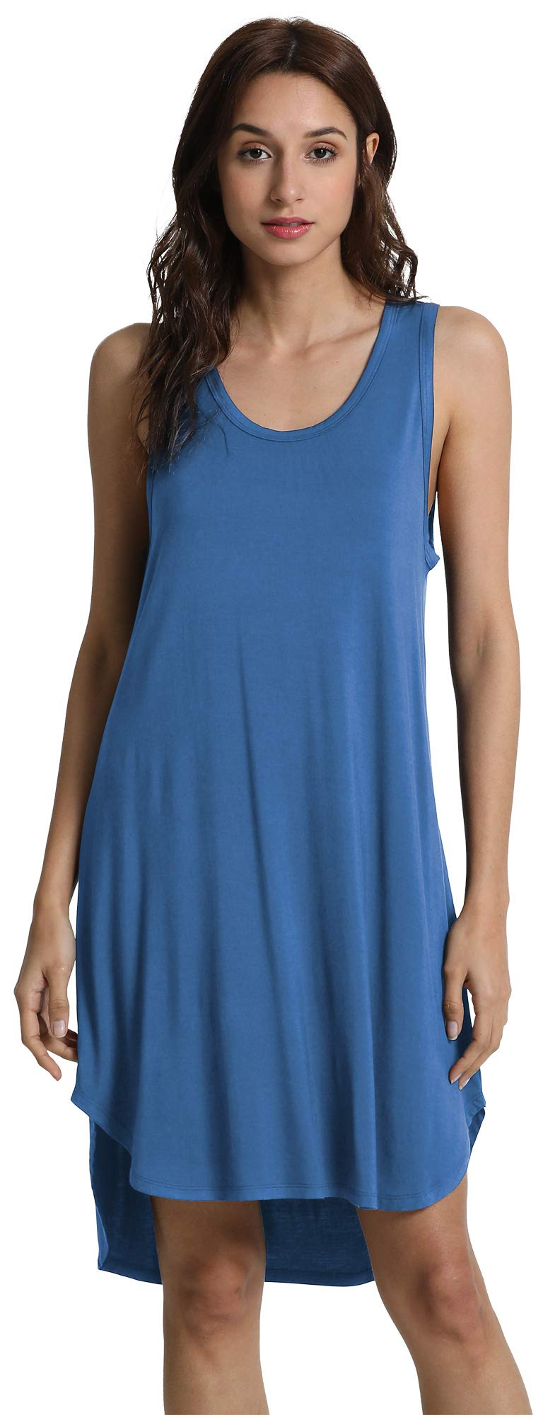 GYS Women's Soft Bamboo Scoop Neck Nightgown, X Large, Prussian Blue