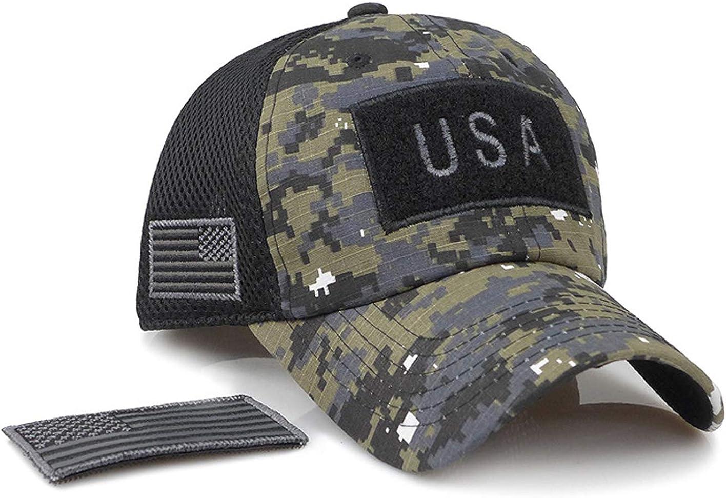 KEFITEVD Herren Tactical Cap Camo Baseball Kappe US Flagge Sonnenhut Military Cap Klettfl/äche Army Kappe Meshgewebe Safari Hut Sommerhut Outdoor #BQM