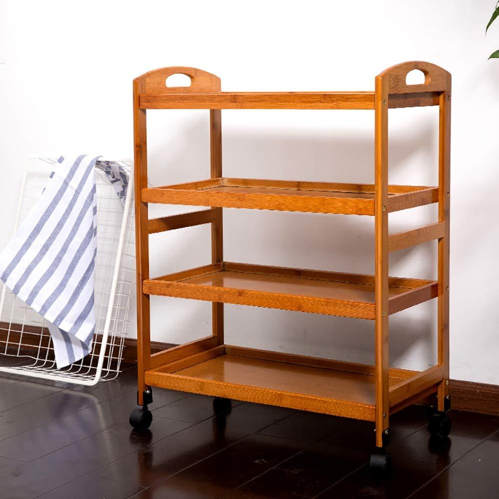 NN 収納棚 - 3層の竹製の家庭用台所用棚をホテルのレストランのダブルトロリー(23.62×12.99×31.89in) 収納ラック B07RX2R9VF