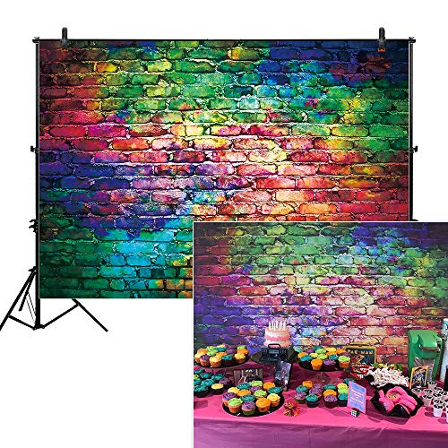 Allenjoy 7x5ft Colorful Brick Wall Backdrop for Awesome 80's Hip Hop Disco Birthday Wedding Graduation Themed Party Product Portrait Video Photography Fashion Decor Background Studio Photo Booth -