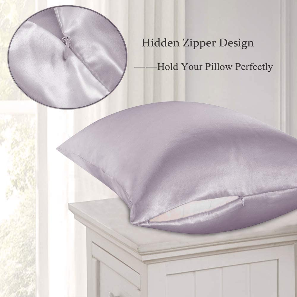 Ravmix 100% Natural Mulberry Silk Pillowcase Standard Size With Hidden Zipper, 21 Momme 600tc Hypoallergenic Soft Breathable Both Sides Pure Silk Pillow Cover For Hair And Skin, 20×26inches, Lilac Home & Kitchen