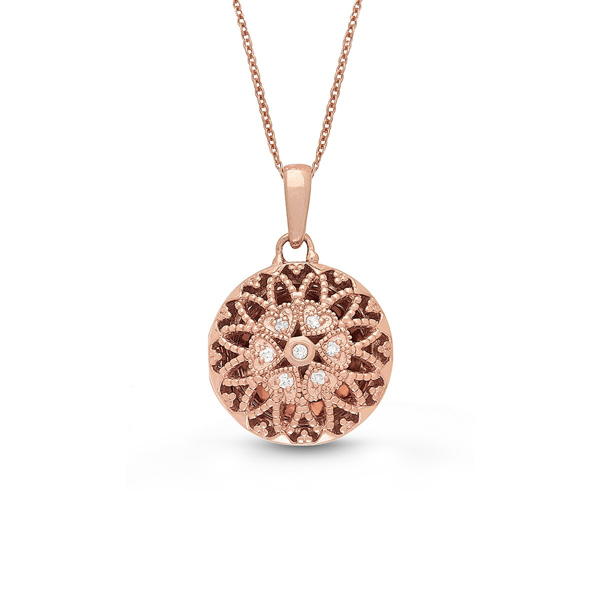 Rose Gold-Diamond-Round Custom Photo Locket Necklace-18-inch chain-The Laney by With You Lockets