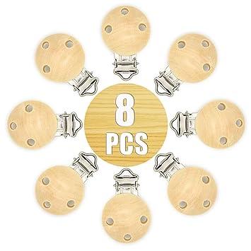 RUBY - 8 Pinza clip madera para chupete (Natural, 8 PCS)