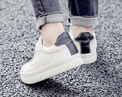 shoes leather round belt with new thick women's single Black shoes white leisure sports 2017 a7SIqB