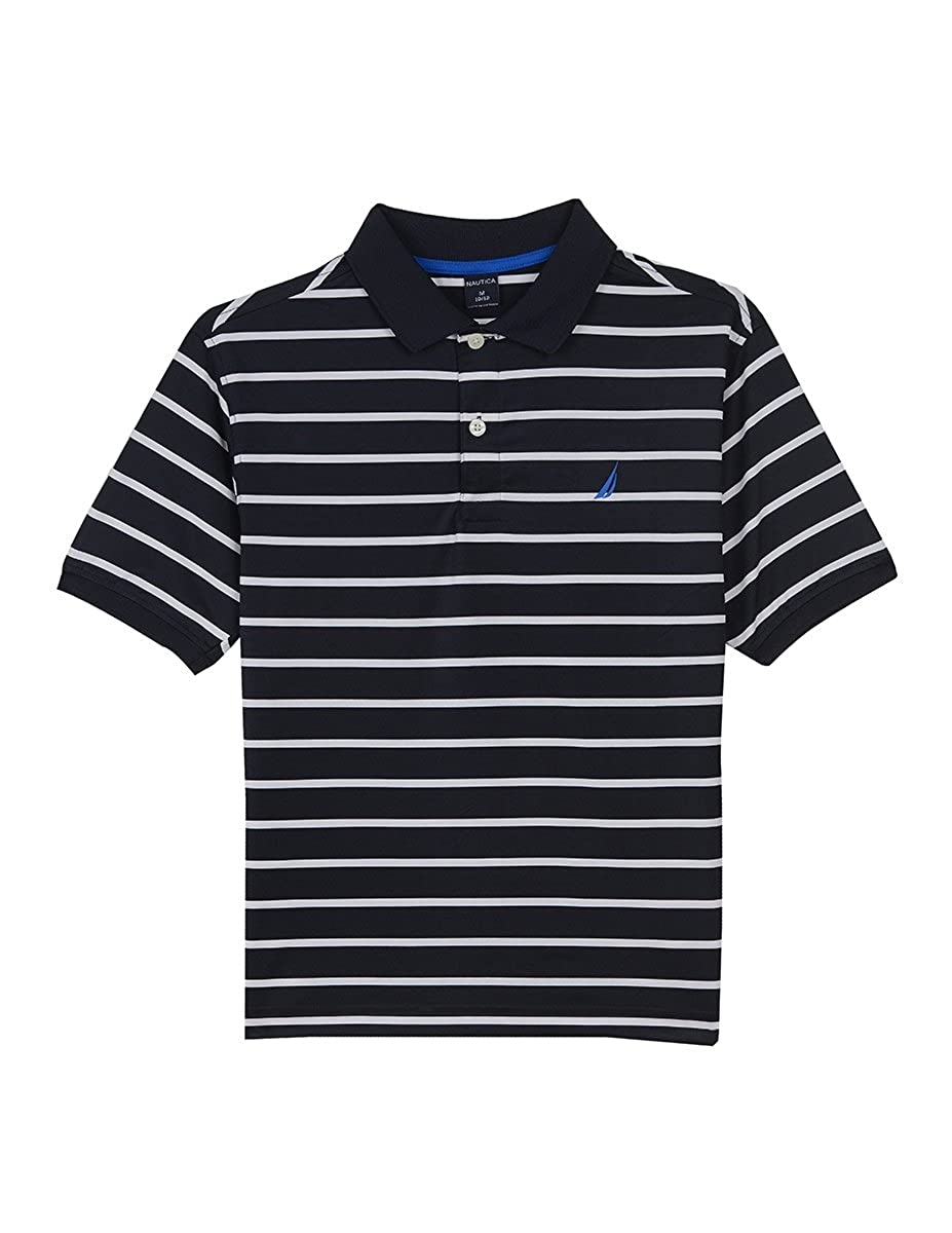 Nautica Boys' Short Sleeve Striped Performance Polo Shirt