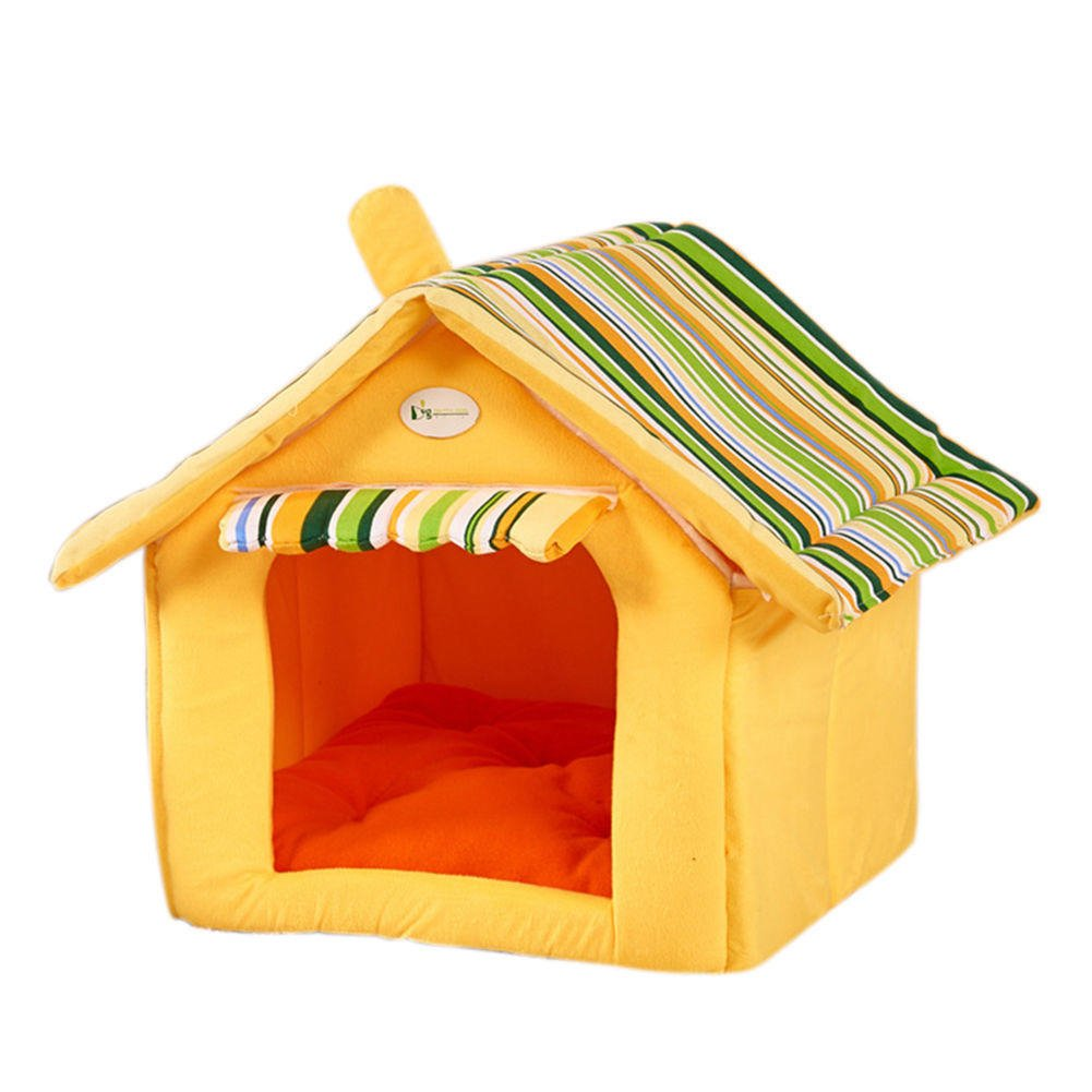 Yellow m yellow m YOEDAF Pet Dog Cat Winter House with Striped Cover Shelter Soft Mat Cushion Beds Pad Hide Kennel Removable Washable Pet Supplies (M,Yellow)