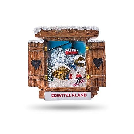 JUMI Imanes para Nevera con Diseño de Ventana de Chalet con Vista a los esquiadores Gondola
