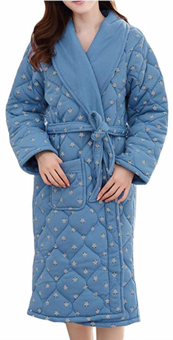16 GAGA Women's Casual Quilted Thick Print Lapel Pockets Homewear Robe