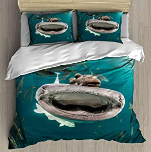XZBLCMWYBYYYQ up Close with a Whale Shark Water Monsters and Pictures Bedding Duvet Cover Setting Duvet Cover with Pillowcases Queen Bedding Sets for Kids and Family Home Decor Soft Comfy Simple