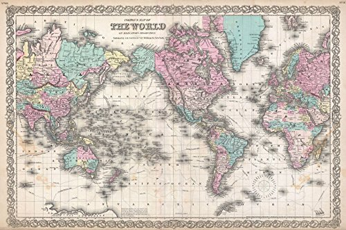 Historical 1855 Colton Map of the World on Mercator Projection | 16 x 24in Fine Art Print | Antique Vintage Map