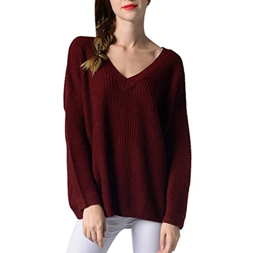 Zhhlinyuan Diseño de moda Casual Relax V Neck Sweater Knitting Shirts Tops Free Style for Womens