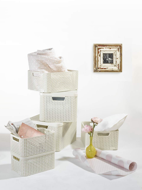 tama/ño L 30 litros Curver 240656 color blanco Set de 3 cestas Style con tapa