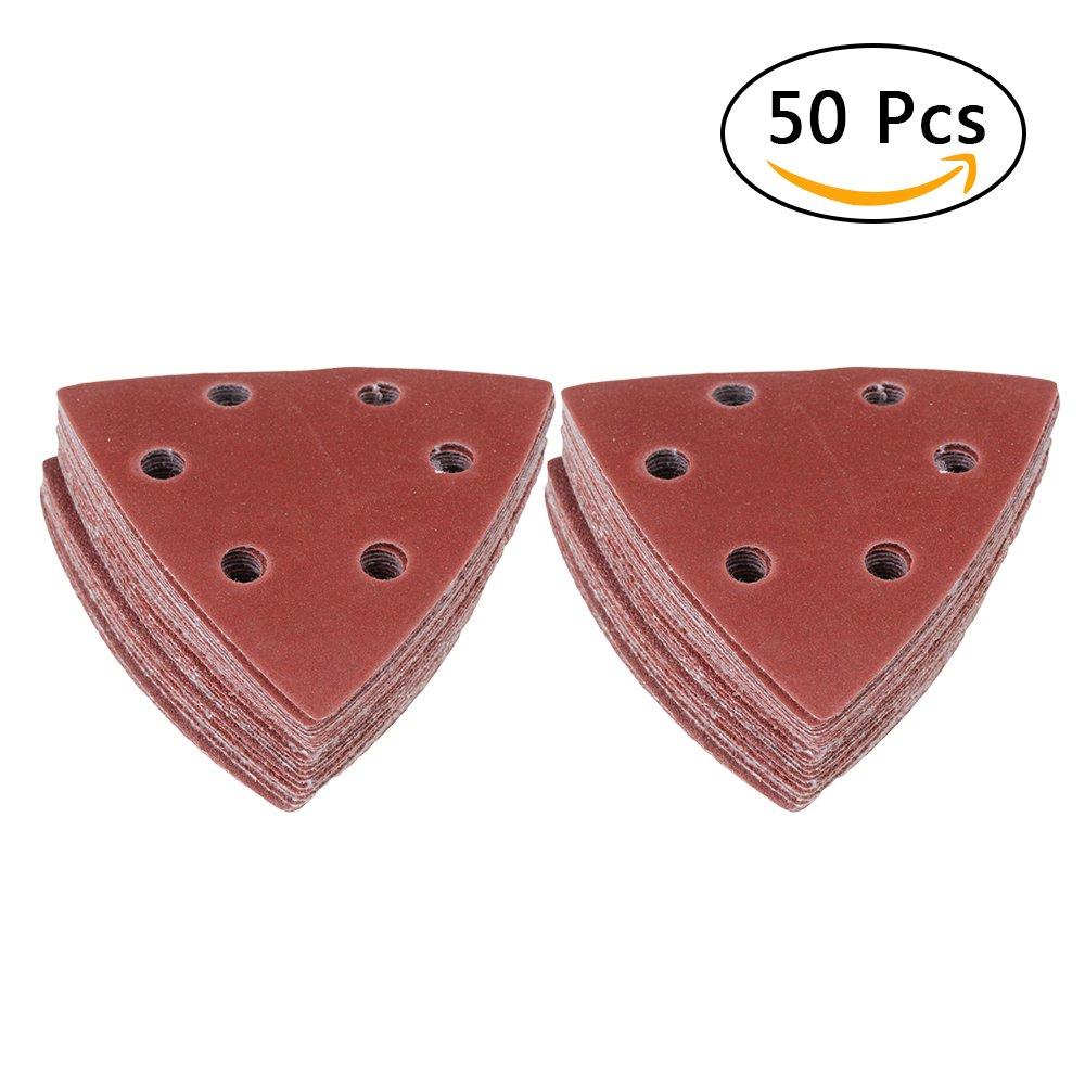 50pcs 9Omm/3.5'' Hook & Loop Oscillating Multi Tool Grits Triangular Sandpaper Sanding Pads Abrasive Sandpaper Assorted 60/80/120/180/240 Grits(10pcs of each) Brown