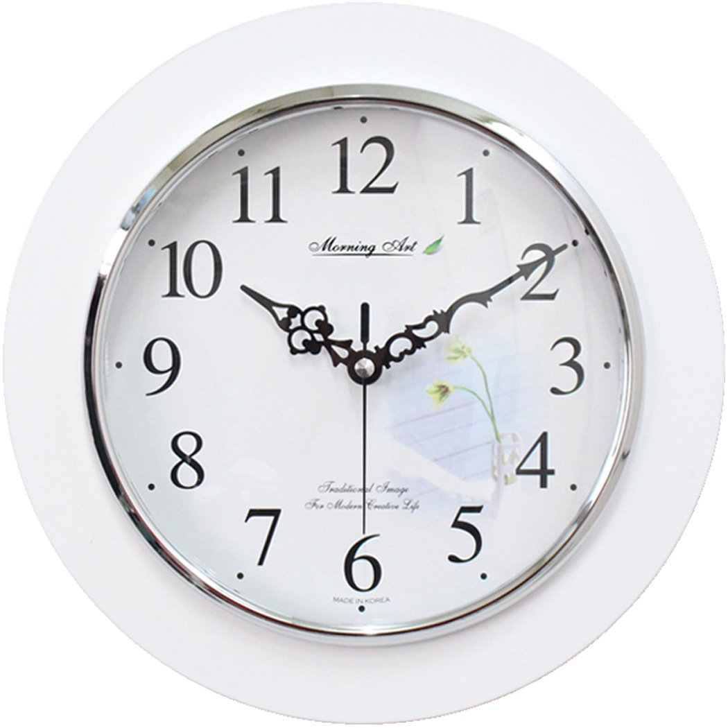 Decorative Analog Wall Clock Silent Battery Operated Modern Quartz Round Wall Clock Simple for Home, Office, Bedroom, 10'', Lily, White