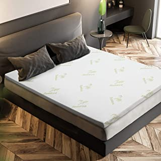 LANGRIA 2-Inch Queen Memory Foam Mattress Topper CertiPUR-US Certified with Removable Zippered Hypoallergenic Bamboo Cover and Non Slip Bottom